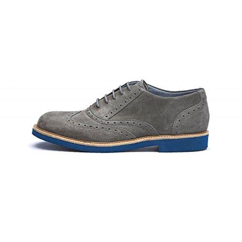 FRAU - Zapatos de cordones de ante para hombre Gris gris 42 Roccia/Blu