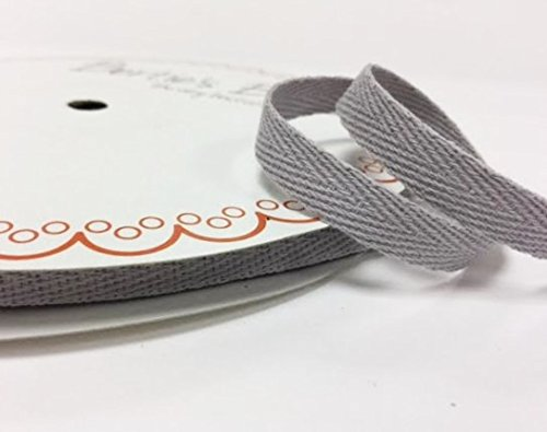 Bertie's Bows 10mm Silver Grey Cotton Herringbone Tape/Webbing on a 4m Length (N.B. this is a cut from a roll, presented on a Bertie's Bows card) Bertie's Bows