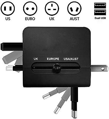 Adaptador Internacional de Viaje Cargador con Dos USB 2.1 A y ...