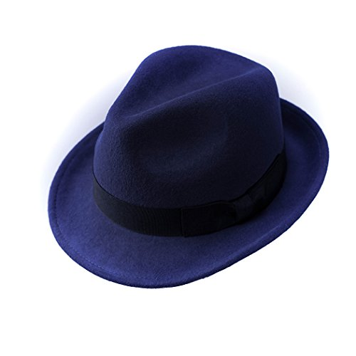 Trilby Hat Wool Felt Panama Fedora Jazz Sun Beach Style with Black Band for Men's Outfits (Blue) (Australia Cap)