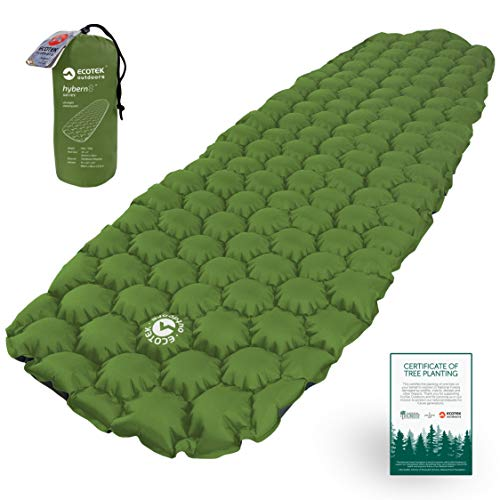 ECOTEK Outdoors Hybern8 Ultralight Inflatable Sleeping Pad with Contoured FlexCell Honeycomb Design - Easy to Inflate, Comfortable, Lightweight, Durable, and Hammock Approved [Evergreen]