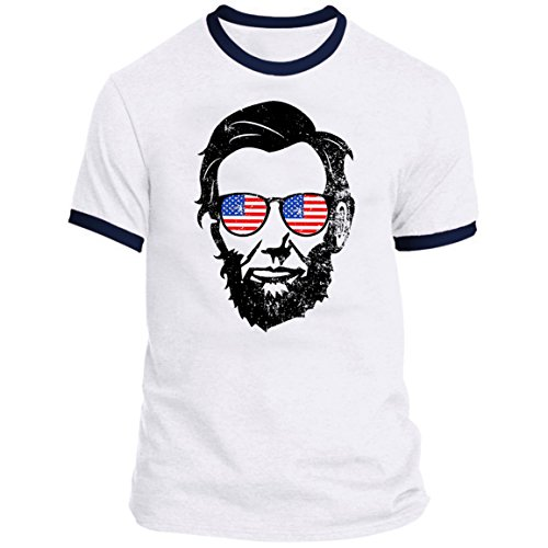 July Ringer T-shirt - 21 THREADS 4th of July Ringer Lincoln Shades Holiday T-Shirt