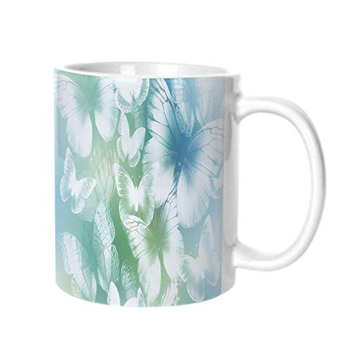 Light Blue Fashion Coffee Cup,Dreamlike Butterflies in Spring Garden Blurry Fantasy Wings For office,One size ()