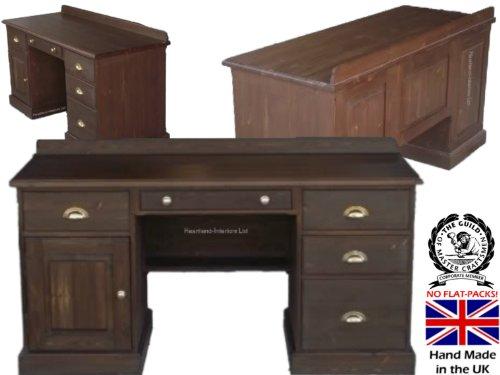 Madera de pino maciza escritorio, doble Pedestal mesa ejecutivo con archivador de cajones en roble. Elección de colores. Sin paquetes, sin montaje (dpw3): ...