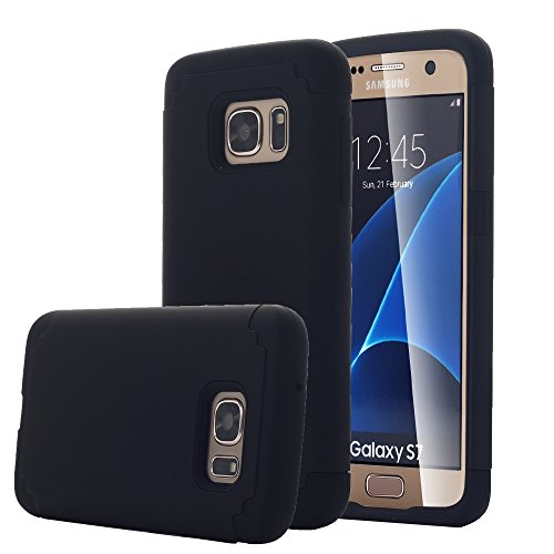 Galaxy S7 Case, Pandawell™ [Corner Protection] Slim Thin Hybrid Dual Layer Shock Absorbing Impact Resist Case Cover for Samsung Galaxy S7 - Black