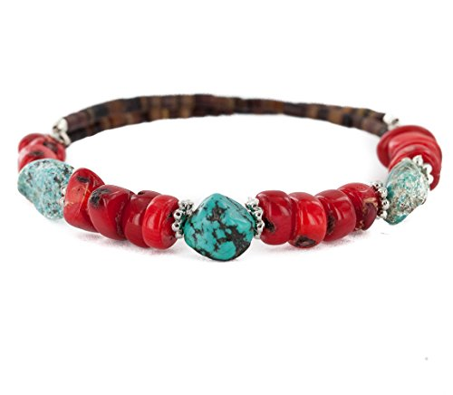 ntic Navajo Natural Turquoise Coral Heishi Native American Adjustable Wrap Bracelet ()