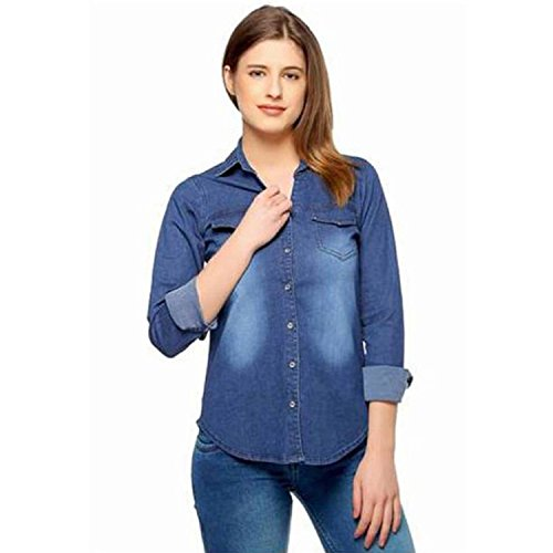 C.Cozami Women #39;s Casual Long Sleeves Blue Denim Shirt