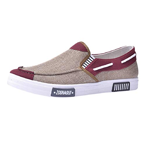 Men's Fashion Lightweight Breathable Casual Shoes Slip on Comfortable Soft Walking Leisure Canvas Boat Shoes by Lowprofile Khaki