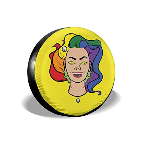 Gay Pride LGBT Flag Vampire Goth Halloween Spare Tire Cover Rear Car Decorations Holiday Ornament Wheel Accessories Decor Protector 14 15 16 17 Inch for Jeep Trailers RV SUV Trucks Offroad Parts ()
