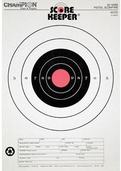 Champion Score Keeper Fluorescent Orange Bull 25-yard Slow Fire Pistol Target (Pack of 100)