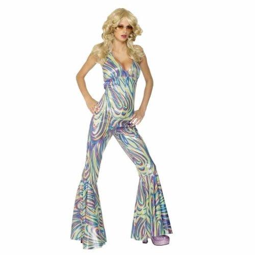 Smiffy's Women's Dancing Queen Costume Halterneck Catsuit, Multi Small ()