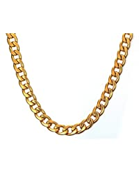 "MG Jewelry 9.5mm Stainless Steel Cuban Curb Chain Necklace for Men, Gold Plated/silver 19""24"""