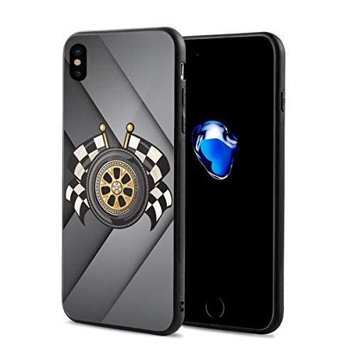 iPhone Xs Case, iPhone X Case Sports Race Racing Checkered Flag Crossed Slim Thin Glossy Soft Silicone Gel Rubber Shockproof Cover Compatible for iPhone X/XS 5.8 Inch 2018 Release