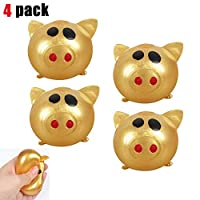 GUCHIS 4pcs Gold Color Antistress Decompression Splat Ball Vent Toy Smash Various Styles Pig Toys Squeeze Squishies Funny Toy Venting Water Ball