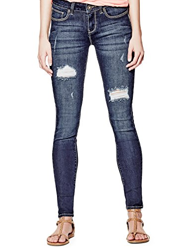 GUESS Factory Women's Sienna Curvy Skinny Jeans in Dark Destroy - Guess Clothing Designer