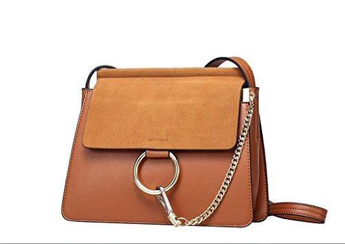 sac anneau paquet chaîne de givré en main cuir sac à messager en sac en Mme bandoulière brown à cuir sacs UwI6gnR
