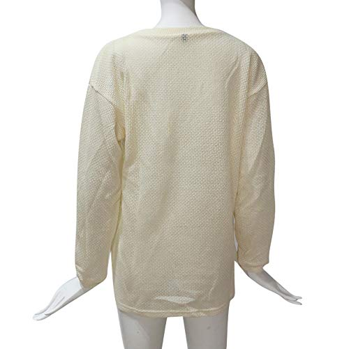 NUWFOR Women Casual Solid Long Sleeve Pullover Loose Sweater Jumper Tops Knitwear (Beige,US:20/CN:L)