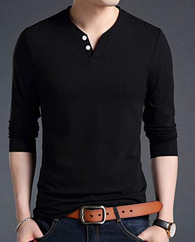17c6091a73fc KUYIGO Men's Casual Slim Fit Long Sleeve Henley T-Shirts Cotton Shirts  (Medium,