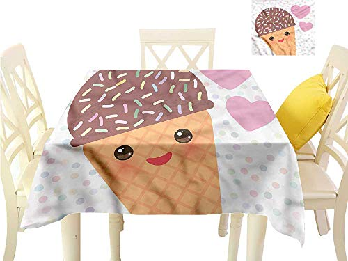 WilliamsDecor Non Slip Tablecloth Kawaii,Valentines Day Design Dots Waterproof Table Cloth W 36