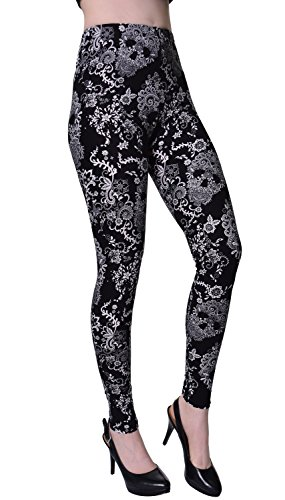 VIV Collection Regular Size Printed Brushed Leggings (Floral Skulls)