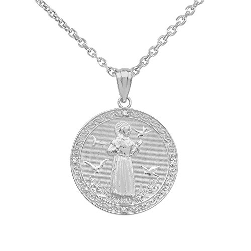 """Sterling Silver Saint Francis Of Assisi CZ Round Medal Charm Necklace (Small), 18"""""""