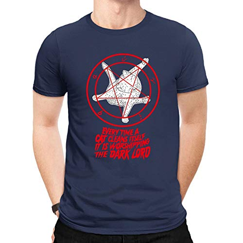 Men's Cotton Classic Tee Creative Funny Cat Gossip Print Short Sleeve Casual Summer Top T Shirts Tibetan Blue ()