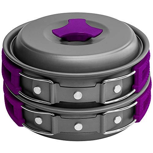 Gold Armour 10Pcs Camping Cookware Mess Kit Backpacking Gear & Hiking Outdoors Bug Out Bag Cooking Equipment Cookset | Lightweight, Compact, Durable Pot Pan Bowls (Purple) (Best Mess Kit For Bug Out Bag)