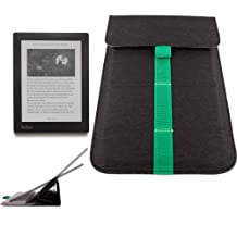 DURAGADGET Transforming Durable Folding Slip Case Cover Sleeve / Stand in Sleek Black with Vibrant Green Stripe Detail For Blackberry PlayBook, PlayBook OS 2.0 & Kobo Arc
