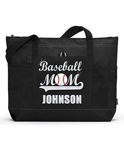 Baseball Mom Sports Tote with a Player's Name in Silver...