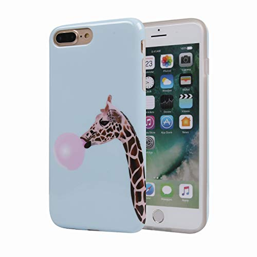 Giraffe Blowing Bubbles iPhone 8 Plus Phone Case for Girls, Clear Bumper Glossy TPU Soft Rubber Silicone Cover Phone Case [Support Wireless Charging] for iPhone 7 Plus/iPhone 8 Plus
