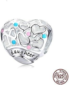 MZNSQB Cuentas de corazón para Mujeres Fabricación de Joyas Hija Amor de encantos Familiares Fit 3 mm Pulsera de Plata esterlina Joyería Fina