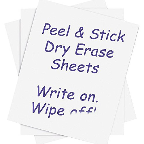 Houseables Dry Erase Sheets, 20 Pack, White Board Vinyl Stickers, 8.5 x 11, 21.6 X 27.94 cm, PVC Whiteboard Wall Decal, Self Adhesive, Peel & Stick, Reusable, Erasable, Home, Office, Restaurant