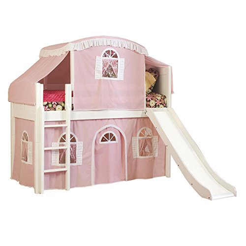 Bolton Furniture 9811500LT4PW Cottage Low Loft Bed with Slide, Pink/White Top Tent and Bottom Playhouse Curtain, Natural