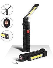 eecoo Linterna de Trabajo Recargable 1800mAh, lámpara de Inspección 5 Modos 800 Lúmenes, LED COB Portátil Linterna con Base Magnética y Gancho para Emergencia, Taller, Automóviles (Grande)