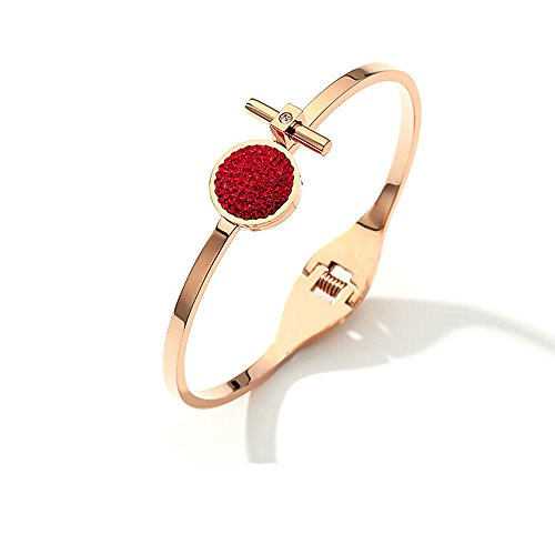 GAOQQ Geometric Round Shaped Bracelet Gold Plated Rose Gold Bracelet Makings Inlaid Diamond Ring,Red ()