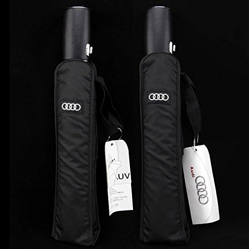 Audi genuine leather handle Japanese brand sun rain Umbrella 3 Fold Anti UV French royal umbrella men women (Black) by Pinsjar (Image #3)