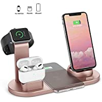 HSYTEK 4-In-1 Wireless Dock Charging Station Compatible With Apple Watch / Airpods & iPhone (Rose Gold)