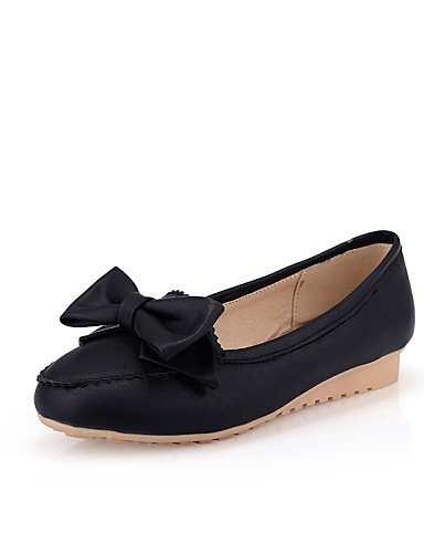redonda negro PDX us5 piel azul de Flats mujer zapatos sintética Beige uk3 plano punta talón cn34 eu35 rosa pink Casual de nx7z1rTwx