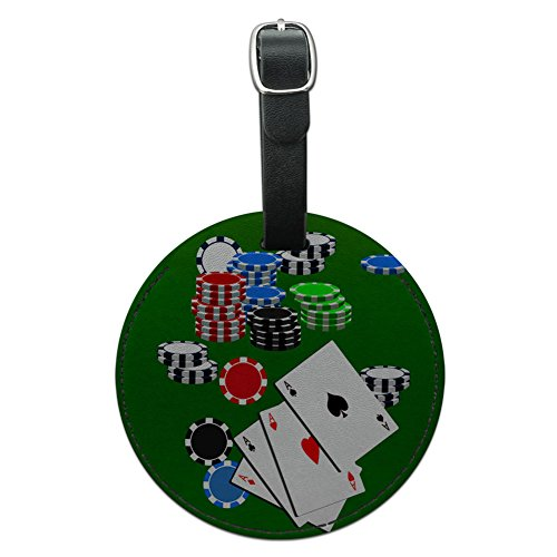 Graphics & More Poker Aces Cards Chips Gambling Round Leather Luggage Id Tag Suitcase Carry-on, Black