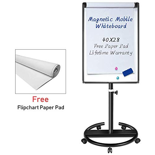 Magnetic Mobile Whiteboard – 40x28 inches Dry Erase Board Flipchart Easel ()