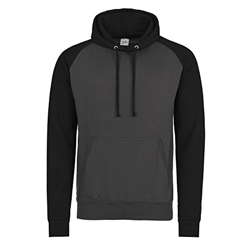 Awdis Just Hoods Adults Unisex Two Tone Hooded Baseball Sweatshirt/Hoodie (L) (Charcoal/Jet Black)