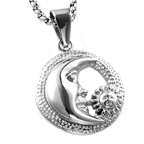Beydodo Men Stainless Steel Necklace Pendant Silver Moon and Sun Round 30x30MM Biker Necklace Men