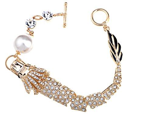 Alilang Dazzling Golden Tone Alloy On Clear Crystal Rhinestone Flying Dragon Bracelet ()