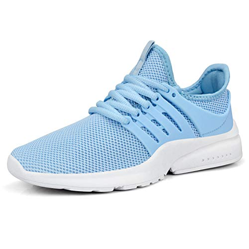 QANSI Womens Tennis Shoes Lace UP Running Walking Sports Sneakers Light Blue Size 8