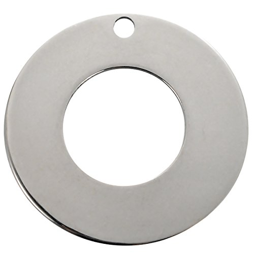 (VALYRIA 20pcs Silver Tone Stainless Steel Stamping Blanks Tags Donuts Ring Charm Pendant 20mm(6/8