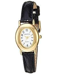 Viva Time Women's 'Timetech Oval Petite' Quartz Metal and Leather Casual Watch, Color:Black (Model: 2685L)