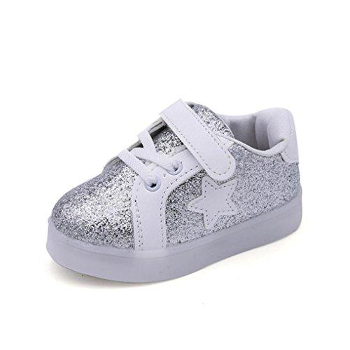 Hunpta Baby Mode Stern Turnschuh LED leuchtendes Kind Kleinkind beiläufige bunte helle Schuhe Silber