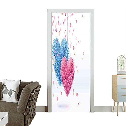 (Door Sticker Wall Decals Fluffy Romantic Toy Like Hanging Theme He Work Pink and Blue Easy to Peel and StickW31 x H79 INCH)