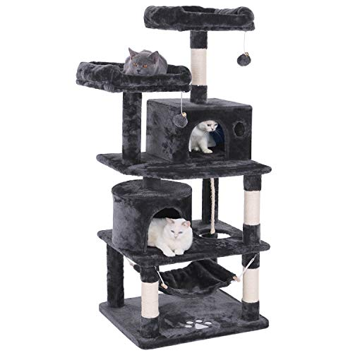 Cat Tree Tower - BEWISHOME Cat Tree Condo Tower Kitten Furniture Activity Center Pet Kitty Play House with Sisal Scratching Posts Perches Hammock Grey MMJ01B