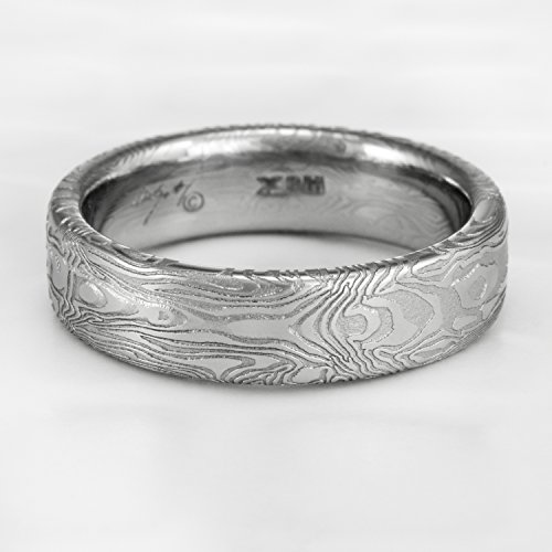 Women's Damascus Wedding Band With Mirror Image Design | BOOKMATCHED ()